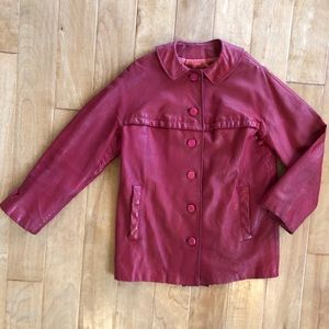 Vintage 60's Red Mod Leather Coat Saks Fifth Ave